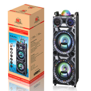 "Dual 10"" Rechargeable Speaker System with Wheels, LED Lights, Wireless Mic and Remote SP03-10X2BK"