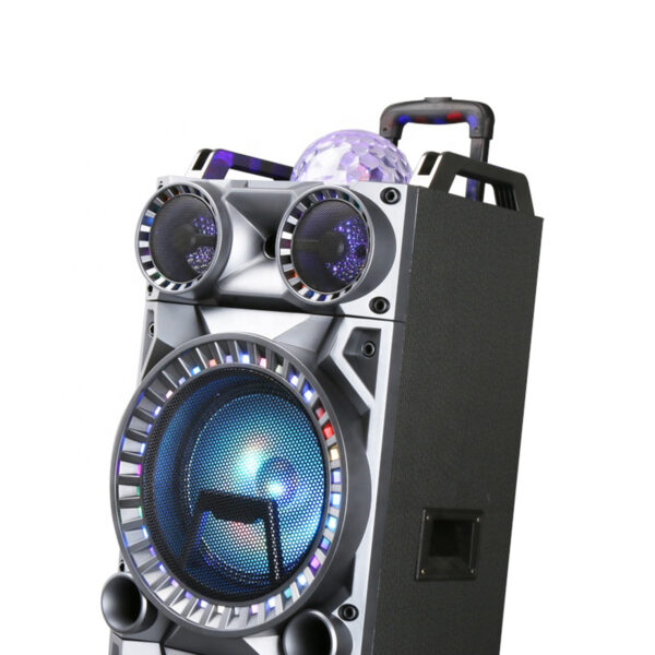 """Dual 10"""" Rechargeable Speaker System with Wheels, LED Lights, Wireless Mic and Remote SP03-10X2BK"""