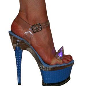 Karo 3258-M.Blue Clear with Blue Light Spikes Platform 7″ inch heels