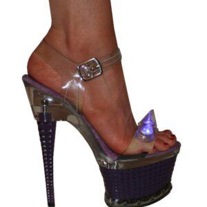 Karo 3258-PURPLE Clear with Blue Light Spikes Platform 7″ inch heels