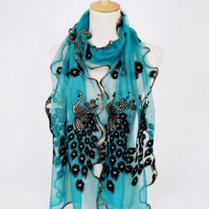 190CM Women Peacock Pattern Lace Gold Foil Scarves Shawl Casual Travel Warm Scarf blue
