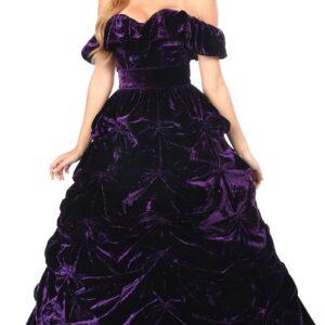 3 PC Dark Purple Velvet Corset Dress
