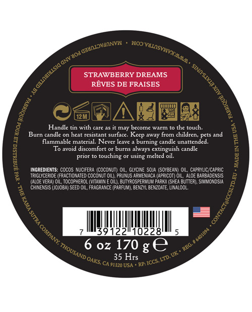 Kama Sutra Ignite Massage Soy Candle - Strawberry Dreams