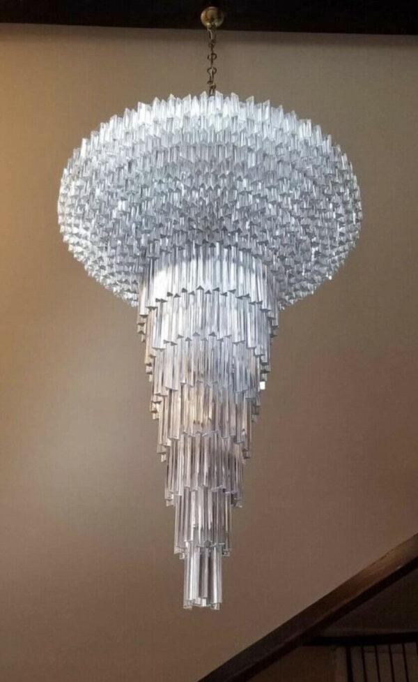 MURANO Venini Camer Crystal Glass Triedri Chandelier Italian Palatial Monumental