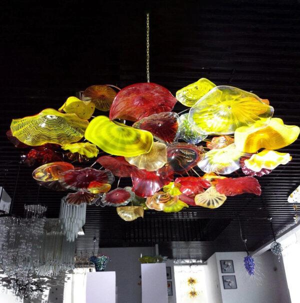 Murano Glass Chandelier Lamp Multi-Color Plate Metal Frame Pendant Light Diameter 60 Inch LED Pendant Light Living Room Home Decor