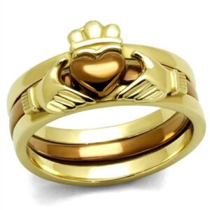 Women's No Stone Irish Claddagh Stainless Steel Ring