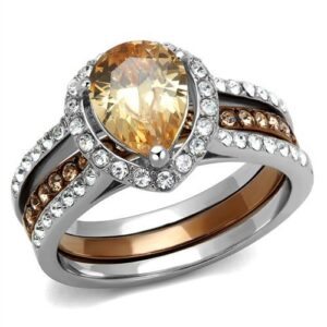 Women's Champagne Cubic Zirconia Stainless Steel Ring RI0T-08694