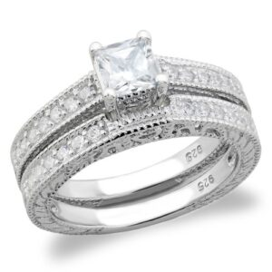 .925 Sterling Silver Square-Cut Cubic Zirconia Wedding Ring Set SO-3RS9066
