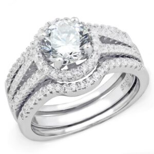 .925 Sterling Silver 1 Carat Cubic Zirconia Wedding Ring Set SU2-11894
