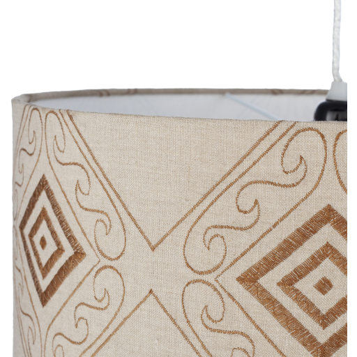 Adilynn AIY-001 Beige, Silver Gray Painted Powder Coated Fabric, Metal Fixture 1 Light Pendant