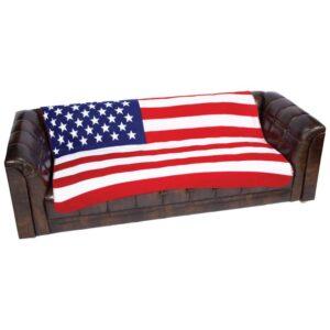 United States Flag Print Fleece Throw