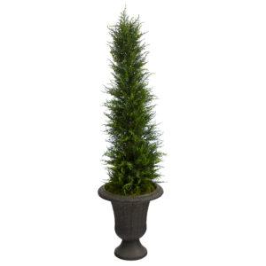 4' Cypress Artificial Tree In Charcoal Urn UV Resistant (Indoor/Outdoor)