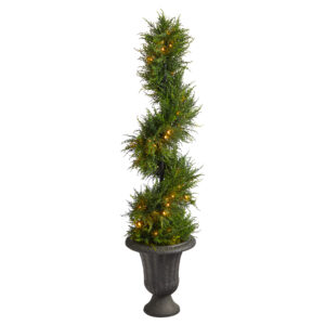 4.5' Spiral Cypress Artificial Tree In Charcoal Urn With 80 Clear LED Lights UV Resistant (Indoor/Outdoor)