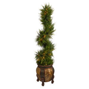 4.5' Spiral Cypress Artificial Tree In Decorative Planter With 80 Clear LED Lights UV Resistant (Indoor/Outdoor)