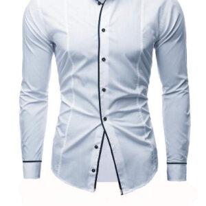 Color Block Plain Button Down Mens Casual Dress Shirts