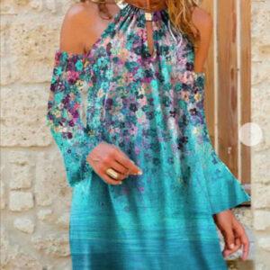 Cotton-Blend Long Sleeve Dresses