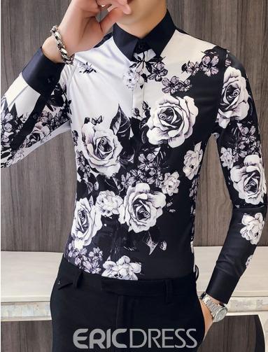 Floral Print Color Block Mens Slim Casual Party Shirts