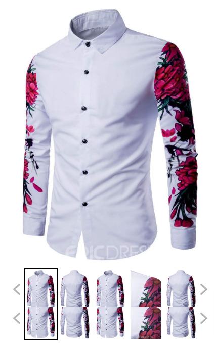 Lapel Floral Print Slim Casual Men's Shirt