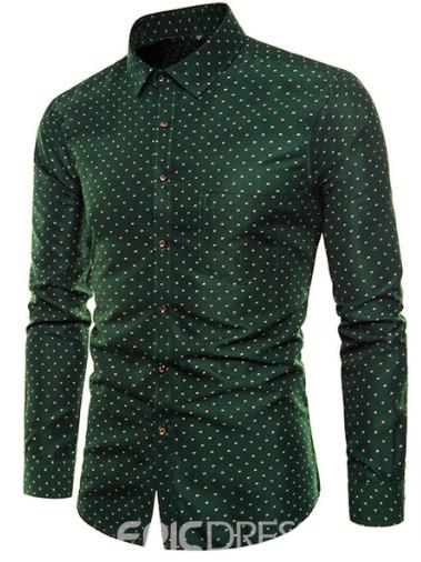 Polka Dots Green Slim Fit Mens Casual Dress Shirts