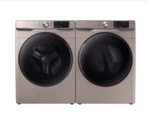 Samsung Front Load Washer & Dryer Set with Steam and Steam Sanitize+ in Champagne