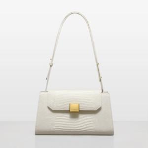 NUCELLE 2021 Vintage Design Lizardstripe Fashion Cow Leather Women Tote Bag L White