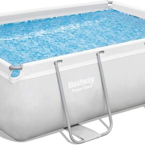 """Bestway 56631E Power Steel Above Ground Swimming Pool, 9'3"""" x 6'5"""" x 33"""", White"""