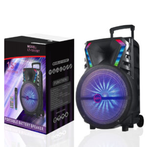 """15"""" Speaker with Adapter charger and wireless mic remote (LT-1517BT)"""