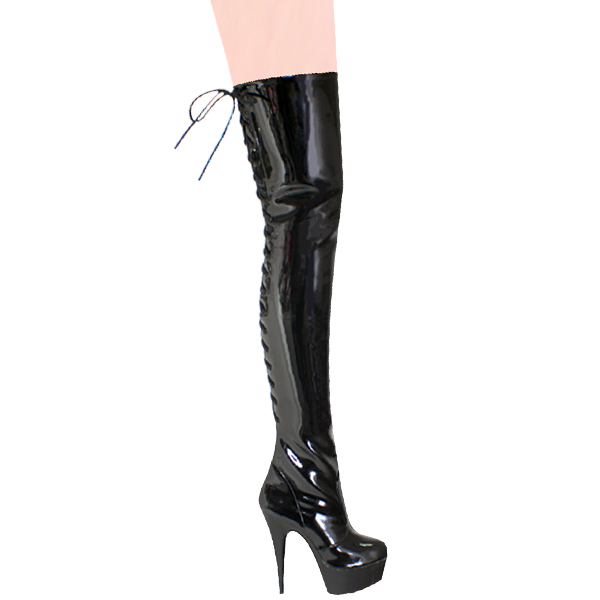 """Karo 0019-L Black Patent with Lace Up Back Thigh High Boots 6"""" inch heels"""
