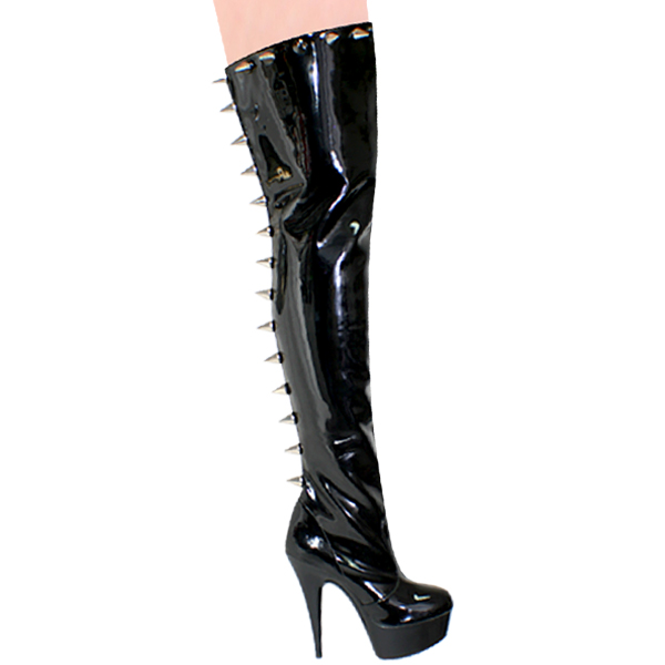 """Karo 0019-Spike Black Patent Thigh High Boots with Zipper 6"""" inch heels"""