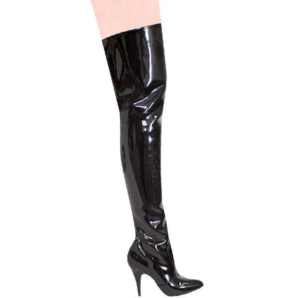 """Karo 0054 Black Patent Thigh High Boots with zipper 4"""" inch heels"""