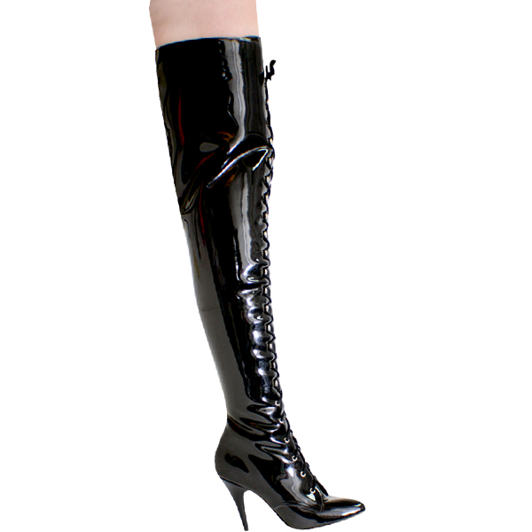 "Karo 0056 Black Patent Thigh High Boots 4.5"" inch heels"