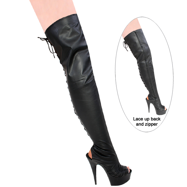 """Karo 0975L-Thigh High Black Leather Open Toe 6"""" inch Heels"""